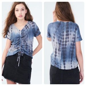 NWT Aeropostale Tie-Dye Ruched Tie-Front Top